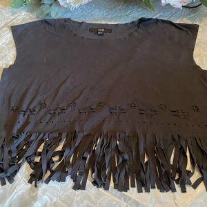 Black Fringe sleeveless top round neck w fringes